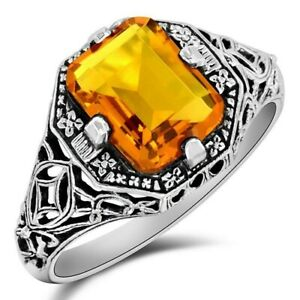 2CT Golden Citrine 925 Sterling Silver Edwardian Style Ring Jewelry Sz 6, WF4
