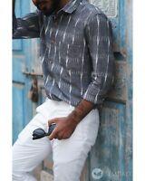handmade butoon up shirt for men ikat shirt for men indian shirt for men