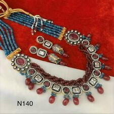 Indian Wedding Bridal Maroon CZ Kundan Gold Plated Fashion Necklace Jewelry Set