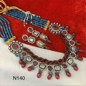 Indian Wedding Bridal Maroon CZ Kundan Gold Plated Fashion Necklace Jewelry Sets