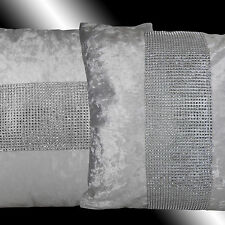 2X SHINNY BLING SILVER WHITE THICK VELVET THROW PILLOW CASES CUSHION COVERS 17""