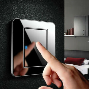 1 2 3 Gang LED Indicator Light Switch Wall Crystal Mirror 16A Push Button Panel