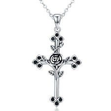 European Rose 925 Sterling Silver Cross Charm Pendant Necklace with Black CZ
