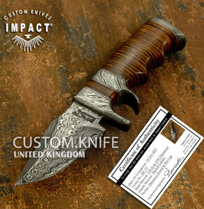 IMPACT CUTLERY RARE CUSTOM DAMASCUS SKINNING KNIFE STACKED LEATHER HANDLE