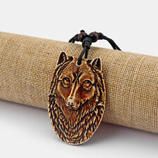 12Pcs Brown Faux Yak Bone Carved Wolf Face Head Charms Pendant Necklace