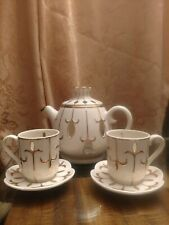 Partylite Ivory Gold Teapot Tea Espresso Cup Saucer Votive Candle Holder 6pc Set