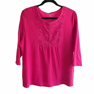 Croft & Barrow 1X Pink Embroidered 3/4 Sleeves Round Neck Pullover Knit Top