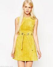Leather Round Neck Sleeveless Mini Dresses for Women