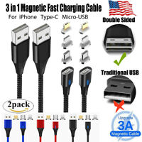 2 pack Magnetic 3A Fast Charging Cable For iPhone Type C Micro USB Charger Cord