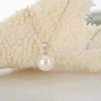 Fashion 14mm Natural South Sea White Shell Pearl Round Pendant Necklace 17''