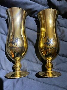 Pair Of Medieval Times Florida Gold Souvenir Hurricaine Glasses