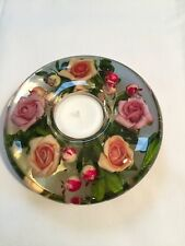 HAND MADE GLASS CANDLE HOLDER WITH FLORAL DESIGN Medium (Annabella)