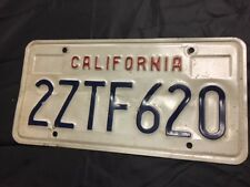 California State License Plate White Blue Red Vintage Rare 2ZTF620