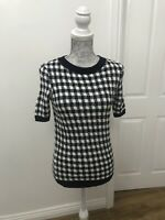 BNWT M&S Collection Checked Short Sleeve Round Neck Jumper Navy Mix - Size UK 6