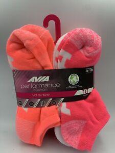 AVIA Women's Performance Cushion No Show Sock 10 Pairs Size 4-10 New -Ships Free
