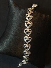 Diamond Accent Open Heart Sterling Silver Bracelet OTC