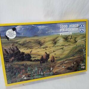 FX Schmid Jigsaw Puzzle 1000 Piece North American Prairie Buffalo Animals USA