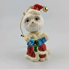 Pacific Rim Christmas Ornament White Cat w/Whiskers Bobblehead