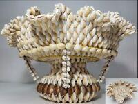 "Vintage Cowrie Shell Center Piece Fruit Bowl Pedestal Tiered BIG 10"" x 15"" x 8"""