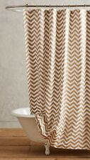 Anthropologie Shower Curtain RADIANT CHEVRON Gold Metallic Cotton Bath NWT