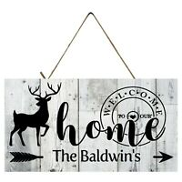 Personalized Deer Welcome to Our Home Printed Wood Sign