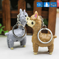 Cartoon Alpaca LED Keychain With Sound Keyring Bag Pendant Flashlight Kid Gift