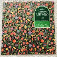 VTG Hallmark Christmas Gift Wrap Wrapping Paper Poinsettia Ornament Mushroom NOS