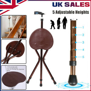 Folding Massage Cane Seat Crutch Chair Walking Stick Disabled Height Adjustable