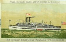 1870's Fall River Line, NY & Boston Steamer Providence w/ Deck Plan Card P108