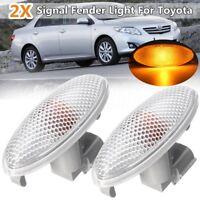 Pair Side Turn Signal Lamp Fender Light Bulb For Toyota Corolla Camry Yaris
