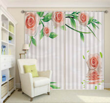 Tender Pink Rose 3D Curtain Blockout Photo Printing Curtains Drape Fabric