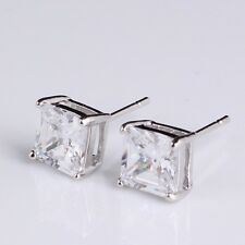 mens jewelry 6mm stud set huggie Gold Filled square Crystal earrings 6mm cheap
