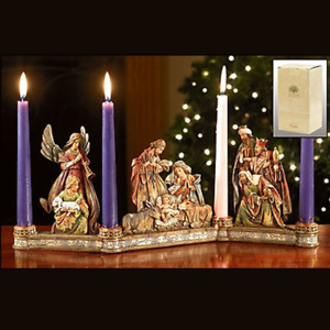 Advent Wreath Traditional Colors Carved Wood Look