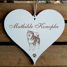 Personalisiertes Schild Herz « ALASKAN MALAMUTE » Name Türschild Hund Hunde Deko