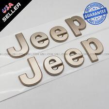 Gold 3D JEEP Hood Trunk Tailgate Emblem Logo Stickers Badge Decoration Set 2pcs