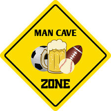 "*Aluminum* Man Cave Zone Funny Metal Novelty Sign 12""x12"""