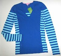 LILLY PULITZER Small ANNETTE Brewster Blue Stripe V Neck Sweater NWT New Sm S