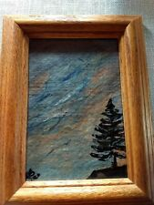 "Original artwork acrylic Painting ""A Short View"" landscape framed Outsider Art"
