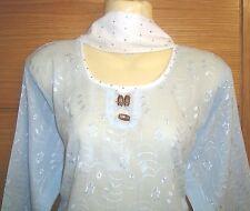 New Summer Light Blue White Indian/Asian Shalwar Trouser Capri Salwar Kameez 12