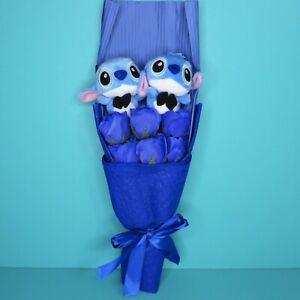 Disney Lilo & Stitch Bouquet 2 Small Plush Stitch Blue Flower Stuffed Animal Toy