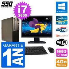 """PC LENOVO M82 SFF Screen 27 """" Intel Core i7-2600 RAM 4Go SSD 960Go Windows 10"""