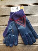 New Vintage 80's Ladies Gloves Navy/ Maroon Acrylic Fiber Phillipines One Size