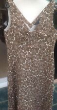 Boden 10 L Brown Multi Floral Dress Lined Side Zip Vgc Cotton