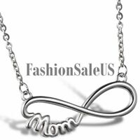 Stainless Steel Mom Infinity Symbol Charm Pendant Necklace For Mother's Day Gift