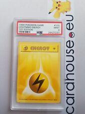 PSA 9 MINT Lightning Energy 1st Edition Base Shadowless 100/102 Pokemon 1999
