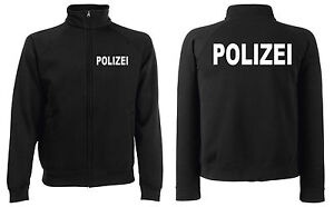POLIZEI Sweatjacke Jacke schwarz oder marineblau versch. Druckfarben zur Auswahl
