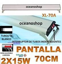 PANTALLA 70CM 2X15W REGULABLE ACUARIO LUZ BLANCA 2 TUBOS T8 PECERA