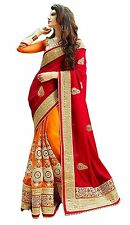 Indian Ethnic Embroidered Georgette Multi-colour Saree Sari D.No SAR1332