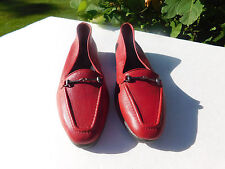 NATURALIZER LADIES RED LEATHER SLIP ON FLATES  SIZE 8 N