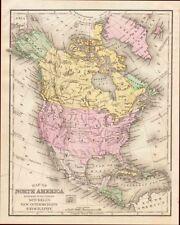 North America, Hand Colored Map, Mitchell, Antique, Original 1890